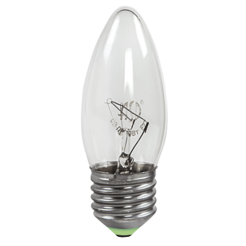 Лампа накаливания 40Вт свеча прозрачная КЭЛЗ